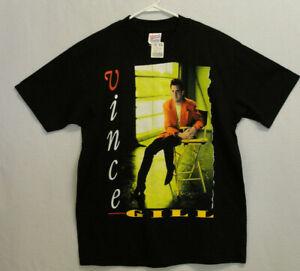 Vintage 90s Vince Gill Spellout Single Stitch Black Graphic T Shirt Mens L Hanes