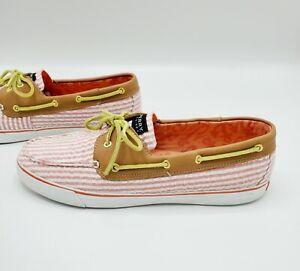 Sperry Top Sider Seersucker Stripe White & Light Red Boat Shoes Women's Size 12