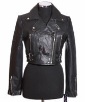 MISSY Ladies Leather Cropped Jacket Biker Short Coat Bolero Black Real Leather