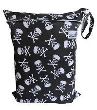 Black Skulls Large Zip Dry/Wet Bag - for Cloth Nappies Waterproof Reusable Eco