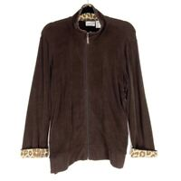 Chicos Travelers Womens L 2 Jacket Brown Leopard Print Zip Up Stretch Mock Neck