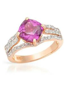 10K SOLID ROSE GOLD 3.10 CTW CREATED SAPPHIRES RING, UK-M, USA-6.5