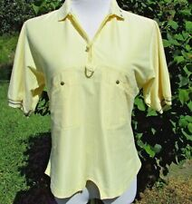 Jamie Sadock Yellow 1/4 Zip Short Sleeve Golf  Casual Shirt  Size S