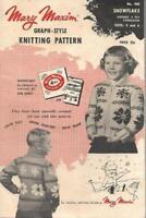 Mary Maxim Graph Style Knitting Pattern SNOWFLAKE Kiddies Cardigan #460 1954