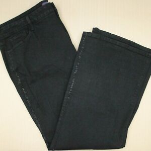 NYDJ Boot Cut Jeans Women's Size 24W Sequin Trim Black Denim Lift Tuck Tech
