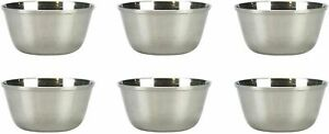 11cm,  Stainless steel Bowls 6-Piece Breakfast Oatmeal Dessert Soup Sundae