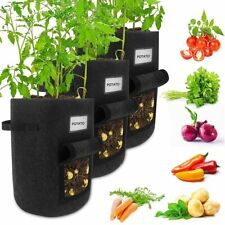 Potato Grow Bags 3 Pack 10 Gallon Heavy Duty with Handles Flap Name Card Holder