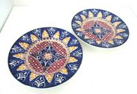 "Pier 1 VIZCAYA Soup Salad Pasta Sauce Bowl 83/4"" Blue Red Earthenware Italy PAIR"