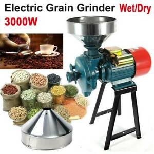 110V 3000W Electric Grinder Wet&Dry Feed/Flour Mill Cereals Grain Corn Wheat US