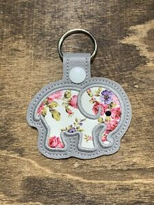 Elephant Floral Faux Leather  Keychain Makes a GREAT gift