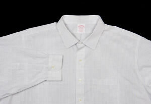 BROOKS BROTHERS Shirt 18.5-35 in Forest Green Graph Check Cotton Trad Fit
