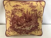 """Authentic Waverly Red Yellow Gold Spice Petite Ferme Rooster Pillow 13"""" Square"""