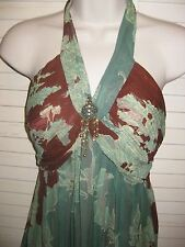 Nicole Miller* Beautiful Silk Chiffon Green/Brown Light padded Halter Dress*Sz 4