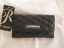 BLACK RAMPAGE WOMEN'S QUILTED FAUX LEATHER, TRI-FOLD WALLET WITH ZIP COMPARTMENT
