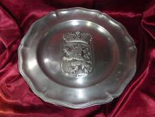 Vintage PEWTER CHARGER Crown & Lion Heraldic Shield - 1978 1.6kg 36cm diameter
