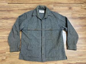 VTG Filson Wool Mackinaw Cruiser Jacket Gray Hunting Field Coat Mens L Style 95