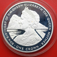 """Gibraltar 1 Crown 1980 Silber KM# 11a PP-Proof #F1041 """"Queen Mom"""" rare"""