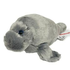 "Aurora Manatee Plush Stuffed Animal Toy Small Gray 8"""