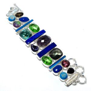 "Lapis Lazuli - Afghanistan & Multi 925 Sterling Silver Bracelet 7.99"" M1429"