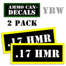 17 HMR Ammo Label Decals Box Stickers decals - 2 Pack 3 inches wide BLYW