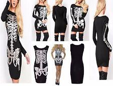 Nueva camiseta para mujer Skelton Impresión De Halloween Elegante Vestido Bodycon Midi Damas Size UK 8-14