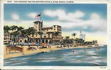 Pancoast and Whitman Hotels Miami Beach FL nice postcard postally used in 1939