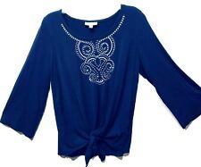 JM Collection Womens Top Blue Silver Studs Shirt BlouseSize S