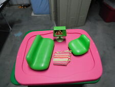VTG  1977 BARBIE A FRAME DREAM HOUSE FURNITURE -COUCH-CHAIR-COVERS AND TV
