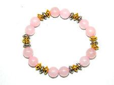 0137-BELLISSIMO 8mm Rosa Quarzo Gemstone & Distanziatore Perline Bracciale 15cm