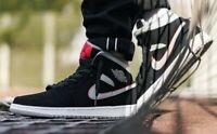 Nike Air Jordan 1 Mid Black White Gym Red Particle Men's Trainers All Sizes