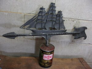 "Vintage black aluminum "" SAILING  SHIP  "" top  for a weathervane."