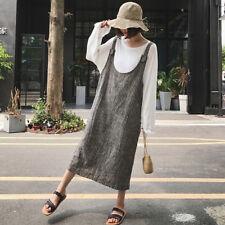 UK 8-24 Women Sleeveless Vintage Striped Baggy Dungarees Tunic Shirt Dress Plus