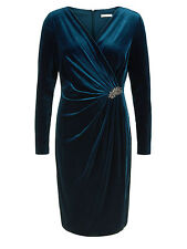Jacques Vert Velvet Cocktail Blue Dress Ladies UK 16 Petite RRP £249 box55 58 D