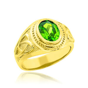 Gold Celtic Ring with Emerald Green Oval CZ - Men's Ring