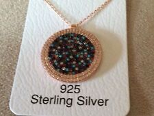 ROSE GOLD PLATING MULTI COLOR  CUBIC ZIRCONIA GREEK MATI NECKLACE N-899