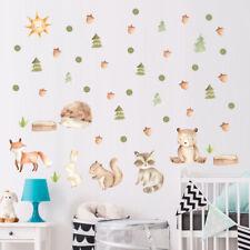 Cartoon Animal Fox Bear Trees Wall Sticker Nordic Style Kids Room Fridge Deca_ji