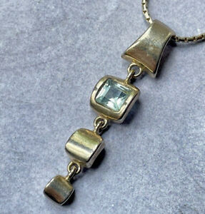 Unusual silver and aquamarine necklace