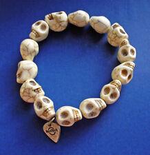 BUY1&GET1@50%~Hard Rock BRACELET Halloween SKELETON SKULL Beads Vtg BIKER