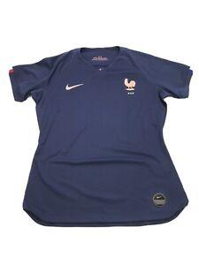 Nike France World Cup Soccer Jersey Womens Size Medium AJ4394-410 Slim Fit