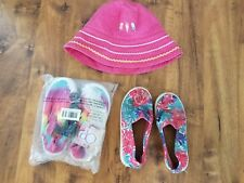 lot little girls size 9 10 NEW colorful PINK OP slip on shoes used TOMS pink HAT