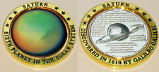 3D Silver Saturn Planet Swivel Axis Coin Gold Rings Solar System Sci-Fi Meda; US