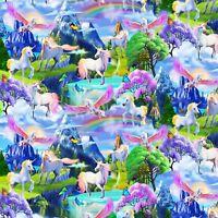 Fabric Rainbows & Unicorns Timeless on Cotton by the 1/4 yard