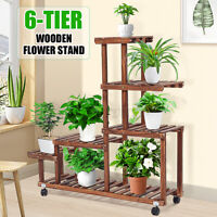 Multi Tier Wooden Plant Stand Flower Pot Rack Shelf Display Bonsai Holder Garden