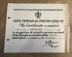 Civil Defence Of London Certificate 1939/45 WW2 Fire Guard Well Used + VAT