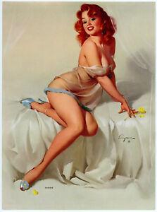 Vintage 1950s Gil Elvgren Risque Brown & Bigelow Pin-Up Print Redhead Darlene
