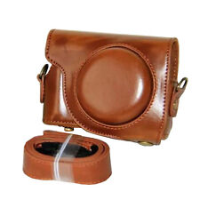 For Canon PowerShot G9 X/G9X Full Lens Cover PU Leather with Tripod Screw Brown