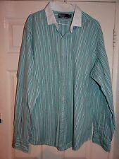 RALPH LAUREN -POLO SMART DESIGNER GREEN STRIPED DRESS SHIRT XXL