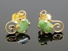 Vintage 0.8 CTW Natural Jadeite Jade Cabochon 14K Yellow Gold Post Earrings, 1.0