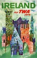 ORIGINAL VINTAGE FLY TWA - IRELAND TRAVEL POSTER BY DAVID KLEIN 1955 Lot 67F