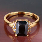 HOT! 24k yellow gold filled well-liked black sapphire crystal ring Sz5-Sz9